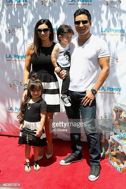 Actors Mario Lopez Courtney Mazza and their children Gia Lopez and Dominic Lopez attend LA Parent's 35th birthday bash at Original Farmers Market on...