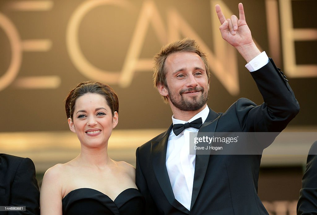 Actors <a gi-track='captionPersonalityLinkClicked' href=/galleries/search?phrase=Marion+Cotillard&family=editorial&specificpeople=215303 ng-click='$event.stopPropagation()'>Marion Cotillard</a> and <a gi-track='captionPersonalityLinkClicked' href=/galleries/search?phrase=Matthias+Schoenaerts&family=editorial&specificpeople=6259320 ng-click='$event.stopPropagation()'>Matthias Schoenaerts</a> attend the 'De Rouille et D'os' Premiere during the 65th Annual Cannes Film Festival at Palais des Festivals on May 17, 2012 in Cannes, France.