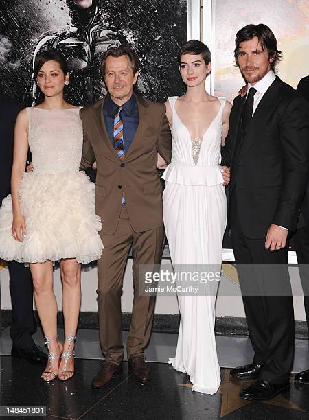 Actors Marion Cotillard Gary Oldman Anne Hathaway and Christian Bale attend 'The Dark Knight Rises' New York Premiere at AMC Lincoln Square Theater...