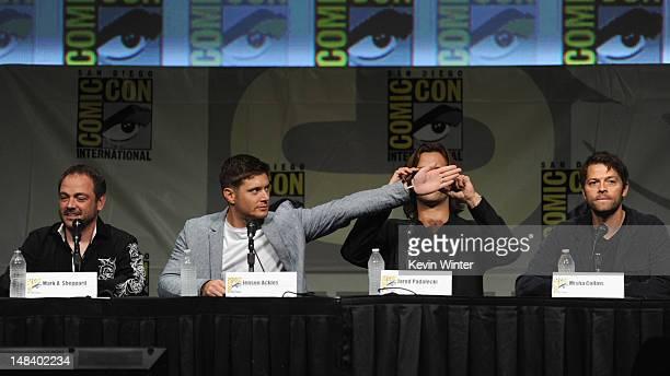 Actors Mark A Sheppard Jensen Ackles Jared Padalecki and Misha Collins speak at 'Supernatural' Panel during ComicCon International 2012 at San Diego...