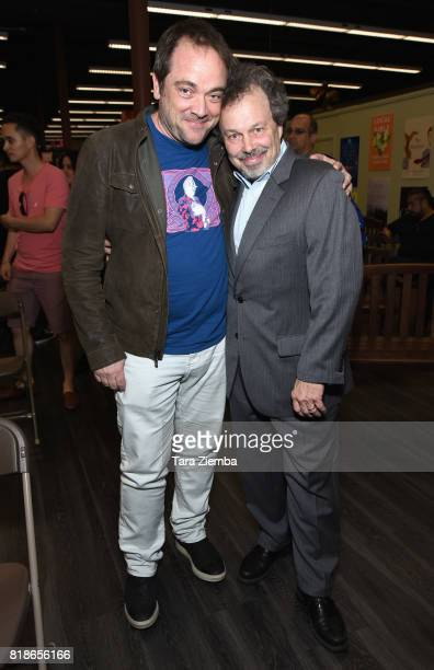 Actors Mark Andreas Sheppard and Curtis Armstrong attend Curtis Armstrong's book signing for 'Revenge Of The Nerd' at Vroman's Bookstore on July 18...