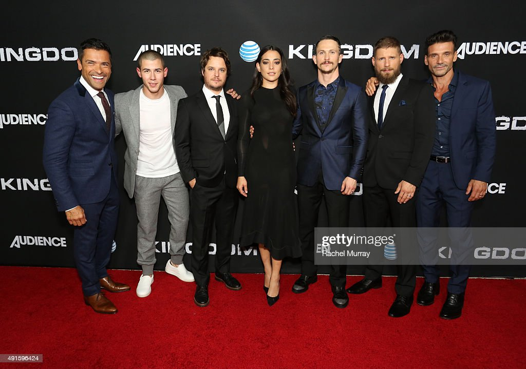 Actors Mark Consuelos Nick Jonas creator/EP Byron Balasco actors Natalie Martinez Jonathan Tucker Matt Lauria and Frank Grillo celebrate the season...