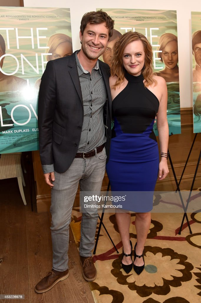 Actors Mark Duplass (L) and Elisabeth Moss attend 'The One I Love' New York Screening at the Crosby Street Theater on August 5, 2014 in New York City.