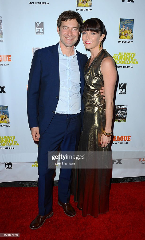Actors <a gi-track='captionPersonalityLinkClicked' href=/galleries/search?phrase=Mark+Duplass&family=editorial&specificpeople=572703 ng-click='$event.stopPropagation()'>Mark Duplass</a> and <a gi-track='captionPersonalityLinkClicked' href=/galleries/search?phrase=Katie+Aselton&family=editorial&specificpeople=6457083 ng-click='$event.stopPropagation()'>Katie Aselton</a> arrives at the Premiere Screenings of FX's 'It's Always Sunny In Philadelphia' Season 8 and 'The League' Season 4 at ArcLight Cinemas Cinerama Dome on October 9, 2012 in Hollywood, California.
