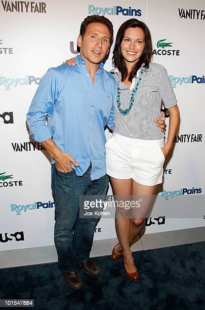 Actors Mark Feuerstein and Jill Flint arrive at the USA Network and Vanity Fair 'Royal Pains' Season Two kick off event at Lacoste Fifth Avenue...