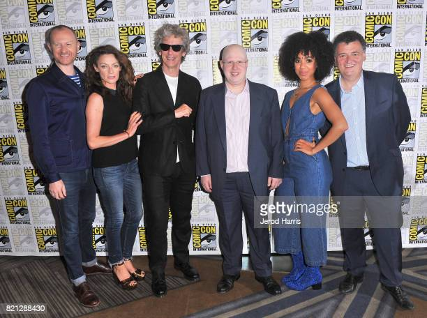 Actors Mark Gatiss Michelle Gomez Peter Capaldi Matt Lucas and Pearl Mackie and showrunner Steven Moffat at BBC AMERICA'S San Diego ComicCon Press...