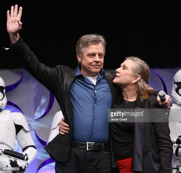 Actors Mark Hamill and Carrie Fisher speak onstage during Star Wars Celebration 2015 on April 16 2015 in Anaheim California