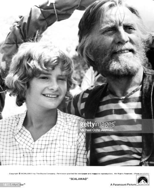 Actors Mark Lester and Kirk Douglas on set of the Paramount Pictures movie 'Scalawag' in 1973
