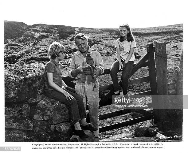 Actors Mark Lester Gordon Jackson and actress Fiona Fullerton on set of the Columbia Pictures movie 'Run Wild Run Free' in 1969