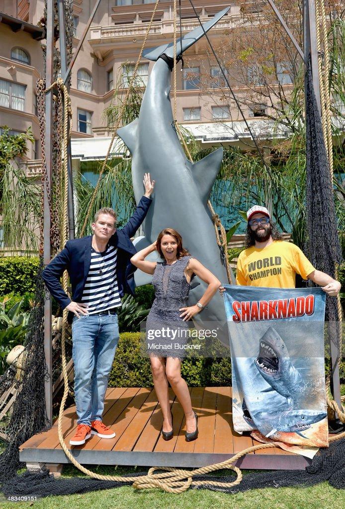 Actors Mark McGrath Kari Wuhrer and Judah Friedlander attend NBCUniversal's Summer Press Day at Langham Hotel on April 8 2014 in Pasadena California