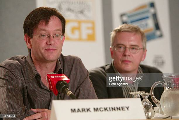 Actors Mark McKinney and Ross McMillan participate in the 'The Saddest Music In The World' media conference during the 2003 Toronto International...