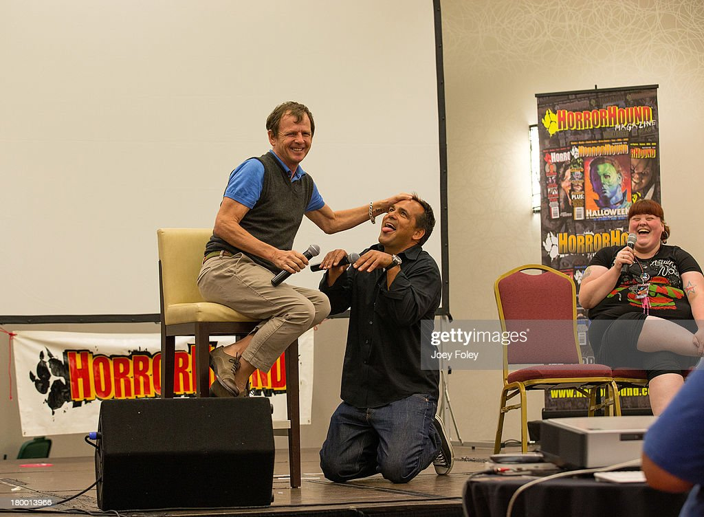 Actors Mark Patton and Robert Rusler onstage during a Nightmare on Elm Street II Q&A panel at Marriott Indianapolis on September 7, 2013 in Indianapolis, Indiana.