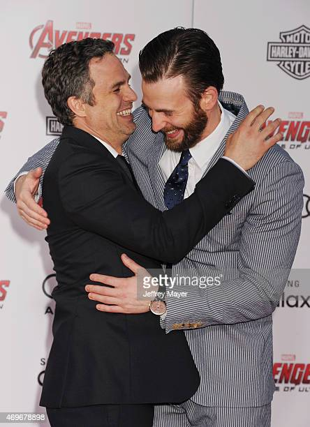 Actors Mark Ruffalo and Chris Evans arrive at the Marvel's 'Avengers Age Of Ultron' Los Angeles Premiere at Dolby Theatre on April 13 2015 in...