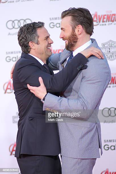 Actors Mark Ruffalo and Chris Evans attend the premiere of Marvel's 'Avengers Age Of Ultron' at Dolby Theatre on April 13 2015 in Hollywood California