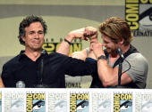 Actors Mark Ruffalo and Chris Hemsworth attend the Marvel Studios panel during ComicCon International 2014 at San Diego Convention Center on July 26...