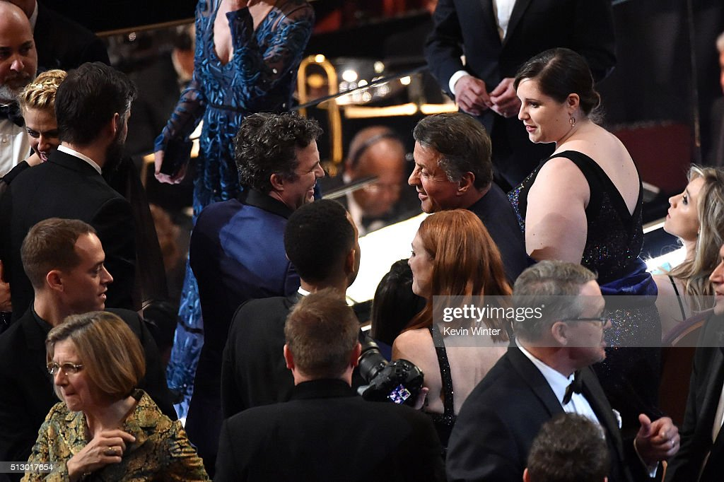 Actors Mark Ruffalo (L) and Sylvester Stallone in the audience during the 88th Annual Academy Awards at the Dolby Theatre on February 28, 2016 in Hollywood, California.