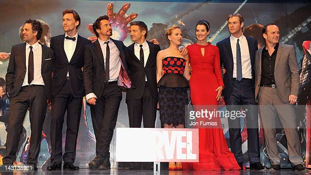 Actors Mark Ruffalo Tom Hiddleston Robert Downey Jr Jeremy Renner Scarlett Johansson Cobie Smulders Chris Hemsworth and Clark Gregg attend the...
