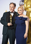 Actors Mark Rylance winner of Best Supporting Actor for 'Bridge of Spies' and Patricia Arquette pose in the press room during the 88th Annual Academy...