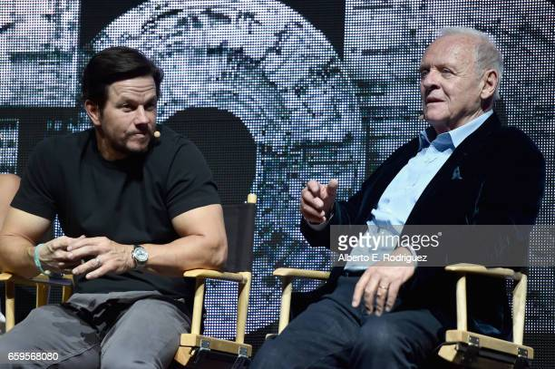 Actors Mark Wahlberg and Anthony Hopkins speak onstage at CinemaCon 2017 Paramount Pictures Presentation Highlighting Its Summer of 2017 and Beyond...