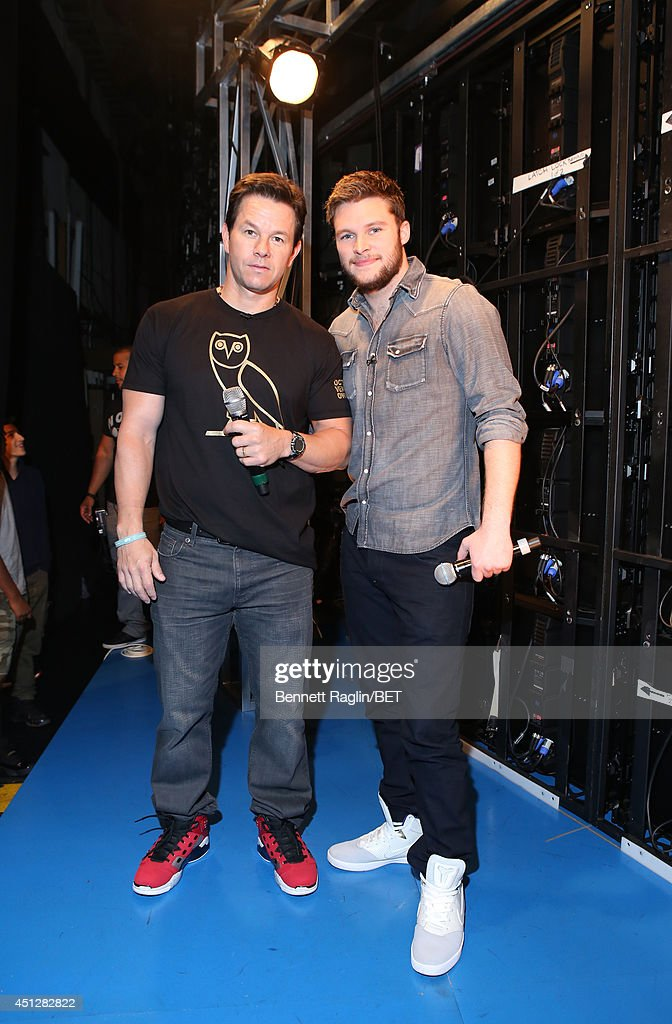 Actors <a gi-track='captionPersonalityLinkClicked' href=/galleries/search?phrase=Mark+Wahlberg&family=editorial&specificpeople=202265 ng-click='$event.stopPropagation()'>Mark Wahlberg</a> and <a gi-track='captionPersonalityLinkClicked' href=/galleries/search?phrase=Jack+Reynor&family=editorial&specificpeople=10130487 ng-click='$event.stopPropagation()'>Jack Reynor</a> visit 106 & Park at BET studio on June 25, 2014 in New York City.
