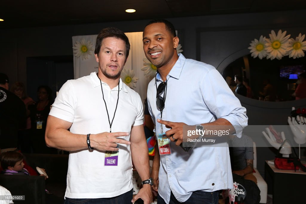 Actors Mark Wahlberg (L) and <a gi-track='captionPersonalityLinkClicked' href=/galleries/search?phrase=Mike+Epps&family=editorial&specificpeople=2137559 ng-click='$event.stopPropagation()'>Mike Epps</a> attend the Minnie Gifting Lounge during the 2013 Radio Disney Awards at Nokia Theatre L.A. Live on April 27, 2013 in Los Angeles, California.
