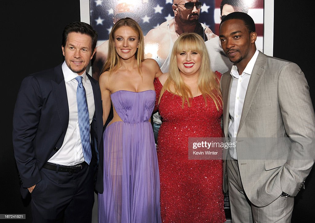 Actors Mark Wahlberg, <a gi-track='captionPersonalityLinkClicked' href=/galleries/search?phrase=Bar+Paly&family=editorial&specificpeople=5598732 ng-click='$event.stopPropagation()'>Bar Paly</a>, <a gi-track='captionPersonalityLinkClicked' href=/galleries/search?phrase=Rebel+Wilson&family=editorial&specificpeople=5563104 ng-click='$event.stopPropagation()'>Rebel Wilson</a>, and <a gi-track='captionPersonalityLinkClicked' href=/galleries/search?phrase=Anthony+Mackie&family=editorial&specificpeople=206212 ng-click='$event.stopPropagation()'>Anthony Mackie</a> arrive at the premiere of Paramount Pictures' 'Pain & Gain' at TCL Chinese Theatre on April 22, 2013 in Hollywood, California.