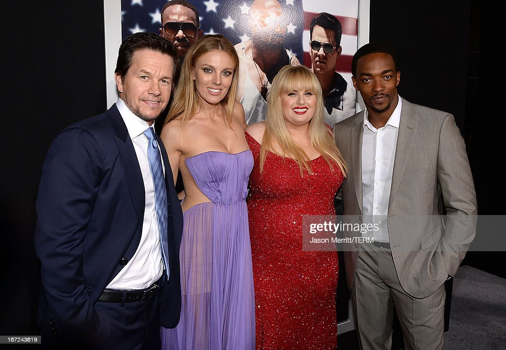 Actors Mark Wahlberg, Bar Paly, Rebel Wilson and Anthony Mackie arrive at the premiere of Paramount Pictures' 'Pain & Gain' at TCL Chinese Theatre on April 22, 2013 in Hollywood, California.