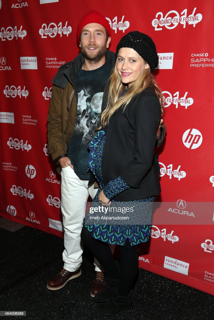 Actors Mark Webber (L) and Teresa Palmer attend the 'Happy Christmas' premiere at Library Center Theater during the 2014 Sundance Film Festival on January 19, 2014 in Park City, Utah.