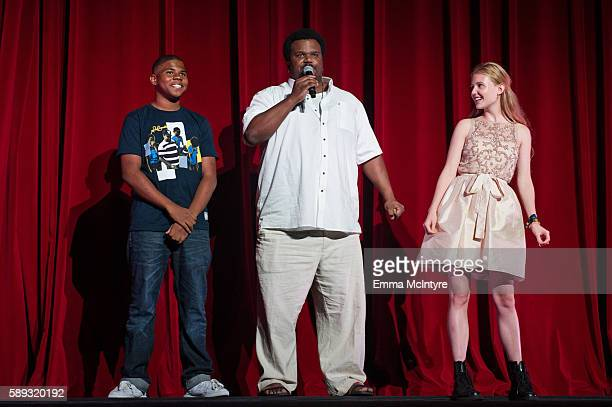 Actors Markees Christmas Craig Robinson and actress Lina Keller and actor speak onstage at the Sundance Next Fest premiere of 'Morris From America'...