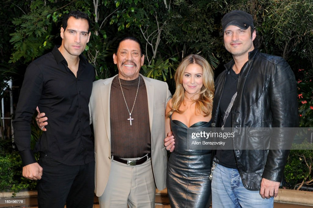 Actors Marko Zaror Danny Trejo and actress Alexa Vega and director Robert Rodriguez attend Open Road Films' 'Machete Kills' press conference at Four...