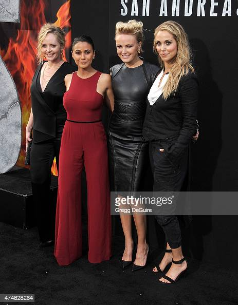 Actors Marley Shelton Emmanuelle Chriqui Malin Akerman and Elizabeth Berkley arrive at the Los Angeles premiere of 'San Andreas' at TCL Chinese...