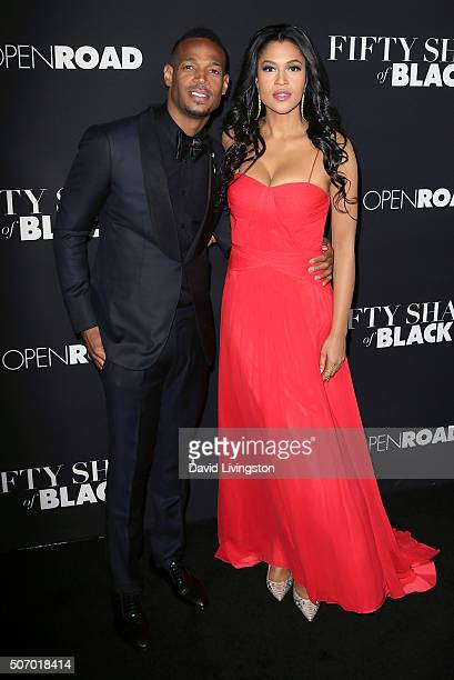 Actors Marlon Wayans and Kali Hawk attend the premiere of Open Roads Films' 'Fifty Shades of Black' at Regal Cinemas LA Live on January 26 2016 in...