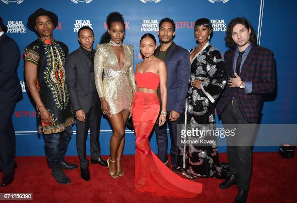 Actors Marque Richardson DeRon Horton Antoinette Robertson Logan Browning Brandon P Bell Ashley Blaine Featherson and John Patrick Amedori attend the...