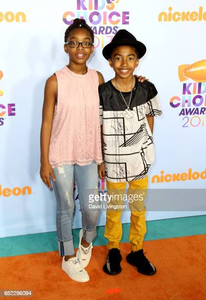 Actors Marsai Martin and Miles Brown attend Nickelodeon's 2017 Kids' Choice Awards at USC Galen Center on March 11 2017 in Los Angeles California