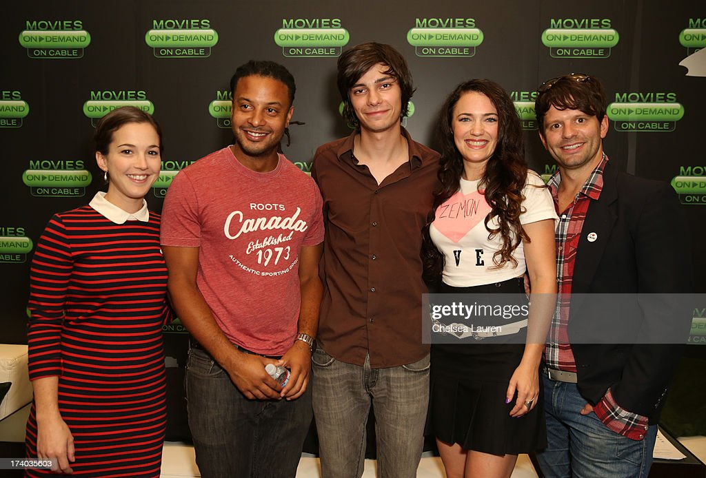 Actors <a gi-track='captionPersonalityLinkClicked' href=/galleries/search?phrase=Martha+MacIsaac&family=editorial&specificpeople=4455742 ng-click='$event.stopPropagation()'>Martha MacIsaac</a>, Brandon Jay McLaren, Devon Bostick, director/actress April Mullen, and writer Tim Doiron attend the 'Dead Before Dawn 3D' at the Movies On Demand Lounge during Comic-Con International 2013 at Hard Rock Hotel San Diego on July 19, 2013 in San Diego, California.