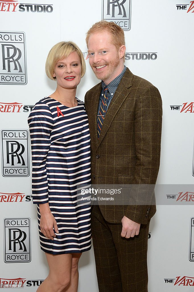 Actors <a gi-track='captionPersonalityLinkClicked' href=/galleries/search?phrase=Martha+Plimpton&family=editorial&specificpeople=211149 ng-click='$event.stopPropagation()'>Martha Plimpton</a> and <a gi-track='captionPersonalityLinkClicked' href=/galleries/search?phrase=Jesse+Tyler+Ferguson&family=editorial&specificpeople=633114 ng-click='$event.stopPropagation()'>Jesse Tyler Ferguson</a> attend The Variety Studio: Awards Edition held at a private residence on November 29, 2012 in Los Angeles, California.