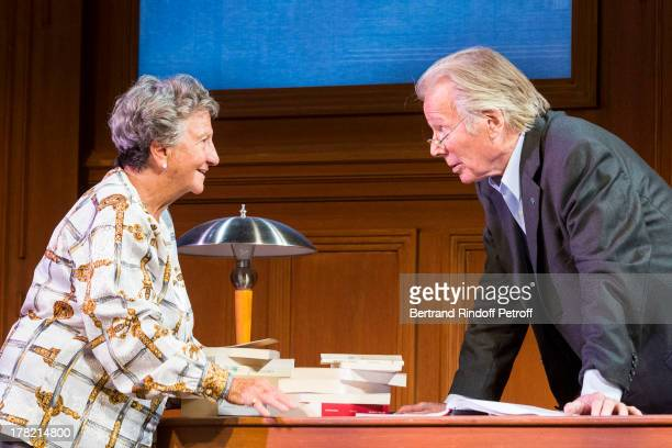 Actors Marthe Villalonga and Jean Piat perform during a runthrough of the play 'Ensemble et Separement' by Francoise Dorin at Theatre des...