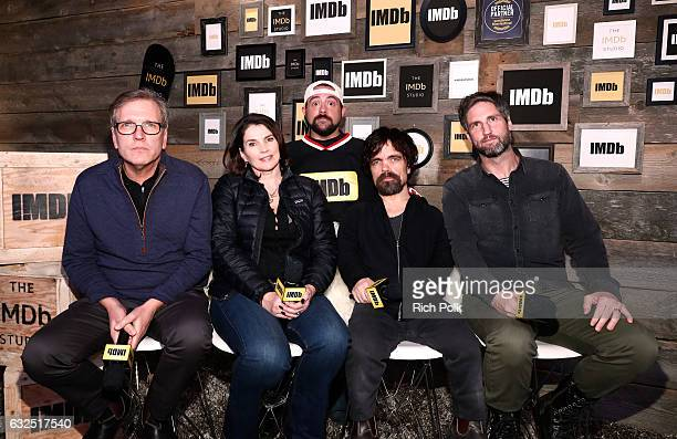 Actors Martin Donovan Julia Ormond Peter Dinklage and film maker Mark Palansky of 'Rememory' and Kevin Smith attend The IMDb Studio featuring the...