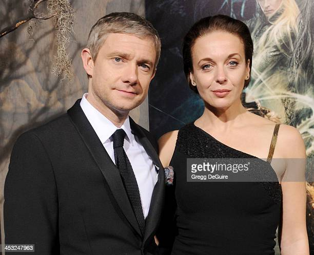 Actors Martin Freeman and Amanda Abbington arrive at the Los Angeles premiere of 'The Hobbit The Desolation Of Smaug' at TCL Chinese Theatre on...