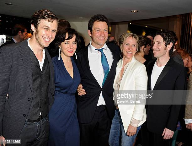 Actors Martin Hutson Amanda Drew Dominic West Penny Downie and Paul McGann attend an after party following press night of the new West End production...