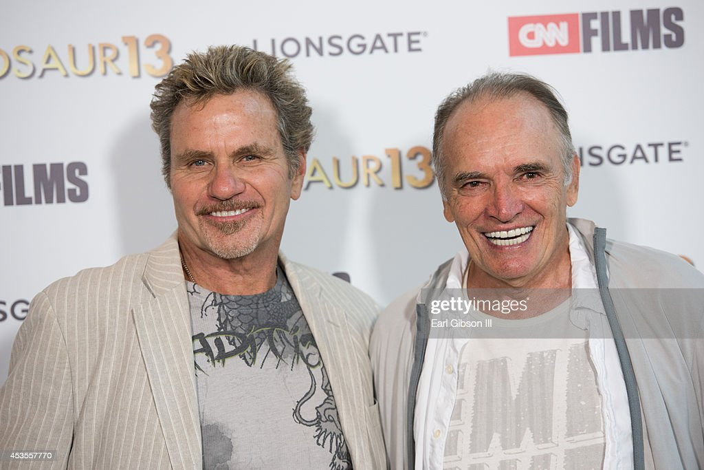 Actors <a gi-track='captionPersonalityLinkClicked' href=/galleries/search?phrase=Martin+Kove&family=editorial&specificpeople=657423 ng-click='$event.stopPropagation()'>Martin Kove</a> and Tom Bower attend the premiere of Lionsgate and CNN Film 'Dinosaur 13' at DGA Theater on August 12, 2014 in Los Angeles, California.