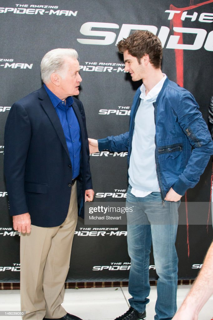 Actors <a gi-track='captionPersonalityLinkClicked' href=/galleries/search?phrase=Martin+Sheen&family=editorial&specificpeople=203224 ng-click='$event.stopPropagation()'>Martin Sheen</a> (L) and <a gi-track='captionPersonalityLinkClicked' href=/galleries/search?phrase=Andrew+Garfield&family=editorial&specificpeople=4047840 ng-click='$event.stopPropagation()'>Andrew Garfield</a> attend the 'The Amazing Spider-Man' New York City Photo Call at Crosby Street Hotel on June 9, 2012 in New York City.