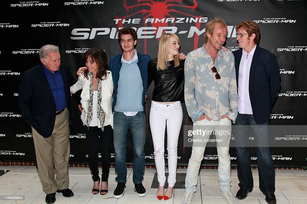 Actors Martin Sheen, Sally Field, Andrew Garfield, Emma Stone, Rhys Ifans and Denis Leary attend the 'The Amazing Spider-Man' New York City Photo Call at Crosby Street Hotel on June 9, 2012 in New York City.
