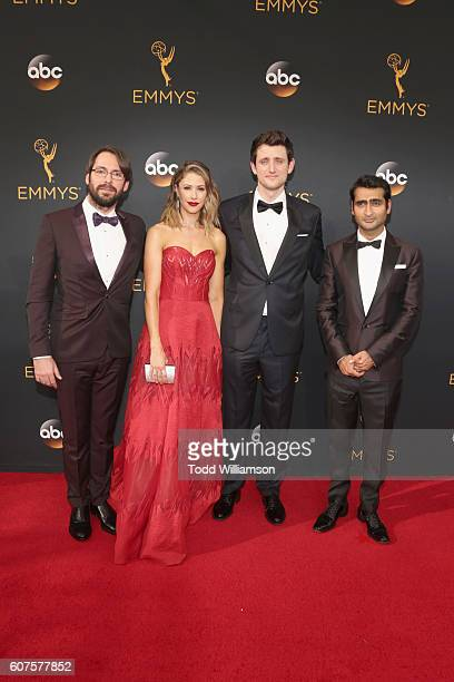 Actors Martin Starr Amanda Crew Zach Woods and Kumail Nanjiani attend the 68th Annual Primetime Emmy Awards at Microsoft Theater on September 18 2016...