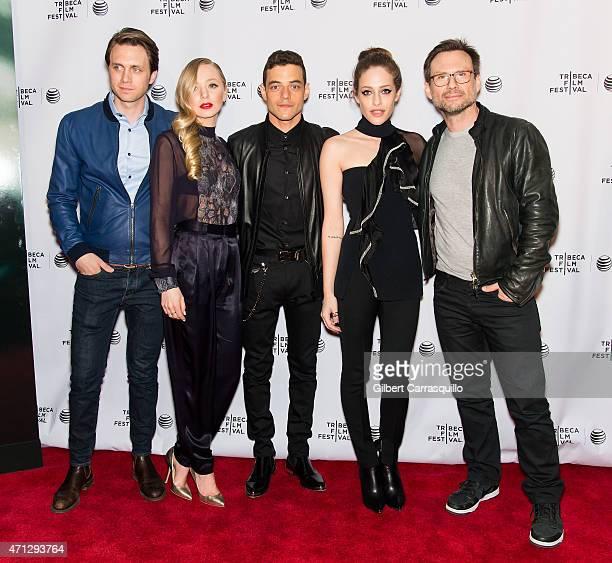 Actors Martin Wallstrom Portia Doubleday Rami Malek Carly Chaikin and Christian Slater attend Tribeca Talks 'Mr Robot' during the 2015 Tribeca Film...