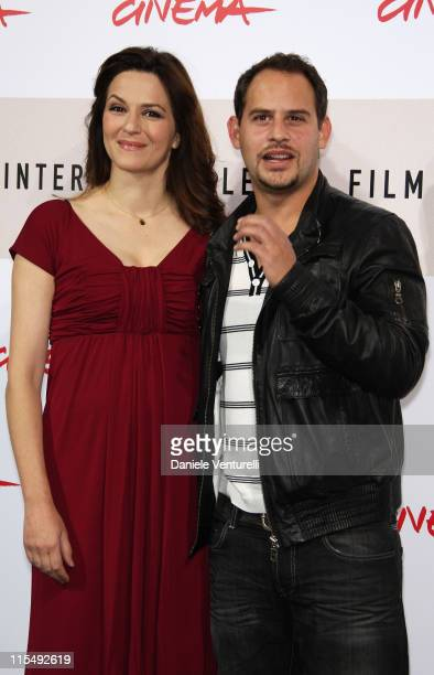 Actors Martina Gedeck and Moritz Bleibtreu attends The Baader Meinhof Complex Photocall during the 3rd Rome International Film Festival held at the...