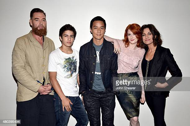Actors Marton Csokas Aramis Knight Daniel Wu Emily Beecham and Orla Brady pose at AMC's 'Into the Badlands' at ComicCon 2015 on July 11 2015 in San...