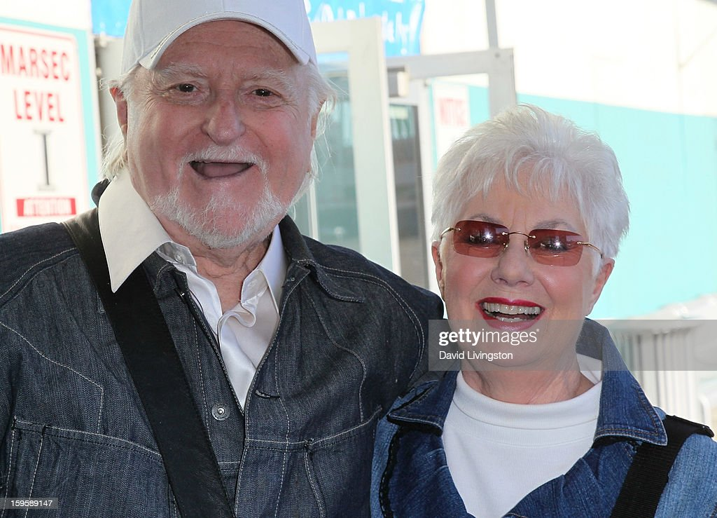 Actors Marty Ingels (L) and Shirley Jones celebrate their 35th wedding anniversary by cruising on the Golden Princess at the Port of Los Angeles Berth 93 on January 16, 2013 in San Pedro, California.