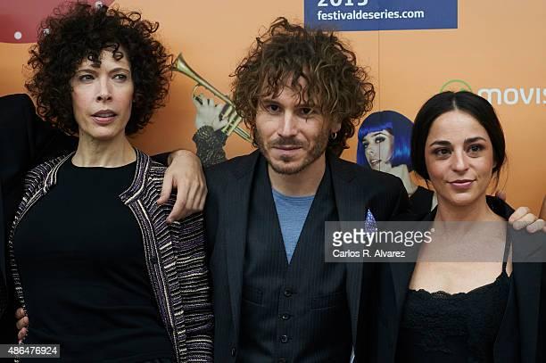 Actors Maru Valdivieso Ruben Ochandiano and Natalia Moreno attend 'Mucha Mierda' photocall during the 7th FesTVal Television Festival 2015 at the...