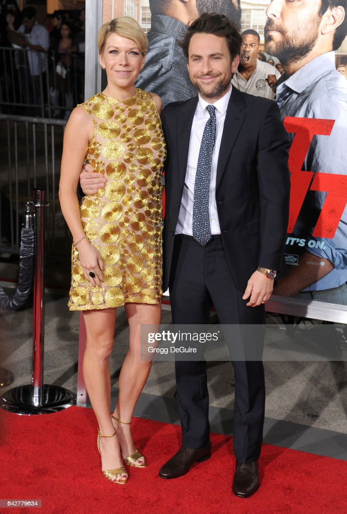 Actors Mary Elizabeth Ellis and Charlie Day arrive at the premiere of Warner Bros. Pictures' 'Fist Fight' at Regency Village Theatre on February 13, 2017 in Westwood, California.
